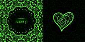 Ornamental green vector square flyer card design. Invitation card. Heart shaped vintage decorative e