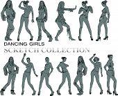 Dancing girls silhouettes