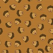 smiling acorn seamless pattern cartoon illustration