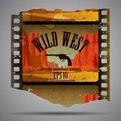 Fragment of vintage western film strip with big canyon. Vector illustration