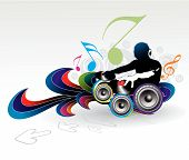 Abstract vector illustration of an dj man playing tunes with music note background.