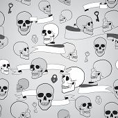 human skulls seamless pattern with ribbons, keys and heart shape lock