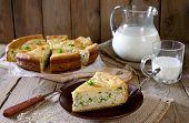 stock photo of jug  - Onion pie with eggs - JPG
