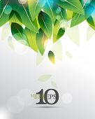 eps10 vector overlapping green leaves with light flares business background