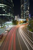 brisbane city traffic by night