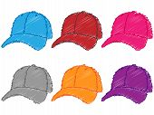 Set Of Baseball Caps In Different Colours Pencil Style 1