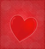 Greeting Card With Glossy Heart Red Background