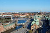 stock photo of copenhagen  - Copenhagen Denmark seen from above on a sunny day with blue skies - JPG