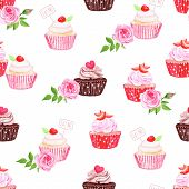 stock photo of eat me  - Chocolate and strawberry cupcakes seamless vector print - JPG