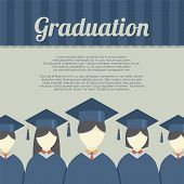 stock photo of graduation gown  - Group of Students In Graduation Gown And Mortarboard Vector Illustration - JPG