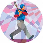 pic of hitter  - Low polygon style illustration of an american baseball player batter hitter holding bat batting viewed from the side set inside circle - JPG