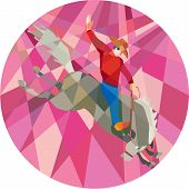 stock photo of bronco  - Low polygon style illustration of rodeo cowboy riding bucking horse bronco viewed from the side set inside circle on isolated background - JPG