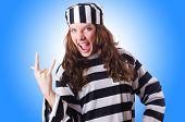 stock photo of prison uniform  - Convict criminal in striped uniform - JPG