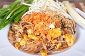 picture of rice noodles  - Pad thai or phat thai is a stir fried rice noodle dish - JPG