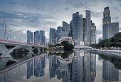 picture of early morning  - Singapore cityscape casting reflections in the early morning - JPG
