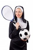 picture of nun  - Pretty nun with sport equipment isolated on white - JPG