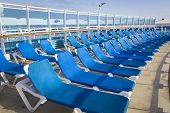 foto of passenger ship  - Abstract of Luxury Passenger Cruise Ship Deck and Chairs - JPG