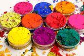 foto of holi  - Overhead shot of Indian Holi festival colours - JPG