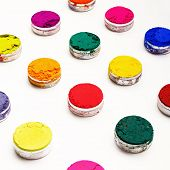 picture of holi  - Colorful Indian Holi festival dyes on white background - JPG