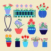 stock photo of flower pot  - Set of different spring flowers in pots - JPG