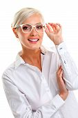 image of shot glasses  - beautiful young woman in white glasses - JPG