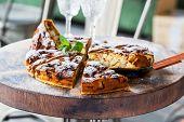 picture of sponge-cake  - Authentic sponge cake with raisins cinnamon and apples - JPG