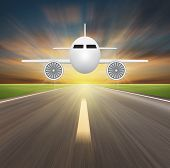 image of propeller plane  - Illustration of plane with blurred road background - JPG