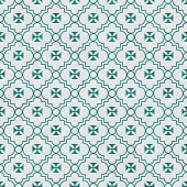 stock photo of maltese  - Teal and White Maltese Cross Symbol Tile Pattern Repeat Background that is seamless and repeats - JPG