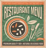 Постер, плакат: Retro restaurant menu poster design