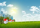 stock photo of wind-power  - Cityscape with wind power station on nature background - JPG