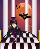 pic of vampire bat  - Cartoon vampire with bats on balcony with checkered floor - JPG