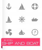 pic of viking ship  - Vector ship and boat icon set on grey background - JPG