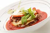 picture of lasagna  - Lasagna with Tomato Sauce and Basil - JPG