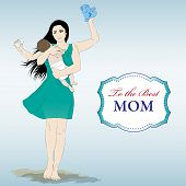 stock photo of multitasking  - Happy mothers day card with Multitasking super mother - JPG