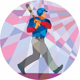 pic of bat  - Low polygon style illustration of an american baseball player batter hitter holding bat batting viewed from the side set inside circle - JPG