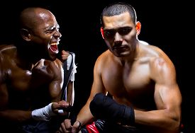 picture of pep talk  - Trainer motivating a muscular Boxer or MMA fighter with pep talks - JPG
