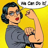 Woman With Glasses We Can Do It The Power Of Feminism poster