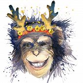 Постер, плакат: Monkey New Year T shirt graphics monkey year illustration with splash watercolor textured backgroun