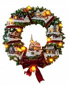 foto of christmas wreath  - Photo of a christmas wreath isolated on white - JPG