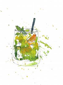 picture of cocktail menu  - artistic illustration of drink - JPG