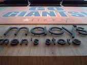 Go Giants Sign Hung On Macy's Men's Store To Honor Giants Playoff Run