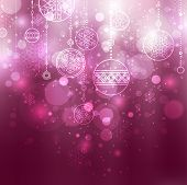 picture of christmas star  - shining lilac christmas background with baubles and snowflakes - JPG