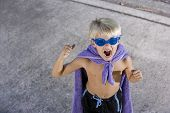 Boy Superhero With Mask And Cape, Shouting