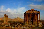 stock photo of euphrat  - historic temple at ancient palmyra at early morning - JPG