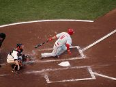 Shane Victorino Makes Contact With Incoming Pitch And Begins To Run