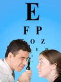 Eye Test Chart With Doctor And Patient poster
