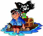 pic of flatboat  - Cartoon pirate sailing on raft  - JPG