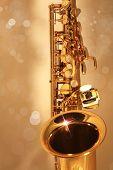 Golden Sax Against Golden Bokeh Background