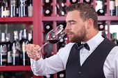 Постер, плакат: Cheerful male sommelier is analyzing quality of drink