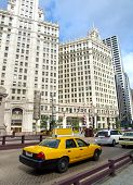 Typical Yellow Taxi In Chicago Streets